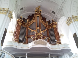 One of the organs in St. Michael's Church -- the one that is above the entrance.