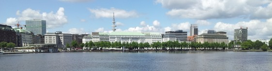 Alster and the beautiful buildings on its bank.