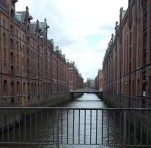 One of the many canals (and in the distance some of the countless bridges) in Hamburg.
