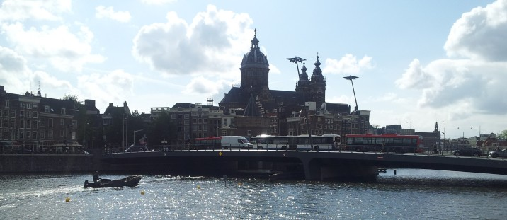 View of Amsterdam from somewhere east of the train station, on my way to the library.