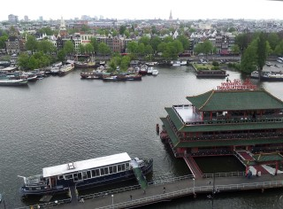 View from the top floor of Amsterdam Library, which is a few blocks directly east of the train station.